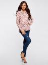 Блузка вискозная прямого силуэта oodji #SECTION_NAME# (розовый), 11411098-3/24681/4029O - вид 6