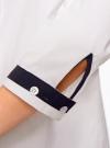 Рубашка с контрастной отделкой и рукавом 3/4 oodji #SECTION_NAME# (белый), 11403201-2B/26357/1000N - вид 5