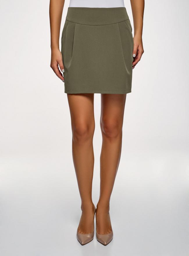 Юбка короткая с карманами oodji для женщины (зеленый), 11605056-3B/18600/6801N
