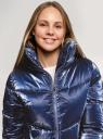 Куртка стеганая с воротником-стойкой oodji для женщины (синий), 10203098-4/50279/7979N
