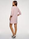 Платье прямого силуэта с надписью на груди oodji для женщины (розовый), 14008028-3/48940/4045P