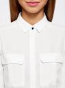 Блузка из струящейся ткани с регулировкой длины рукава oodji для женщины (белый), 11403225-1B/45227/1200N