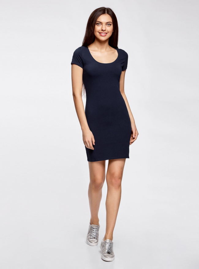 Платье трикотажное облегающего силуэта oodji для женщины (синий), 14001182B/47420/7900N