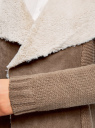 Кардиган с деталями из искусственного меха oodji для женщины (коричневый), 73205193-1/31328/3700N