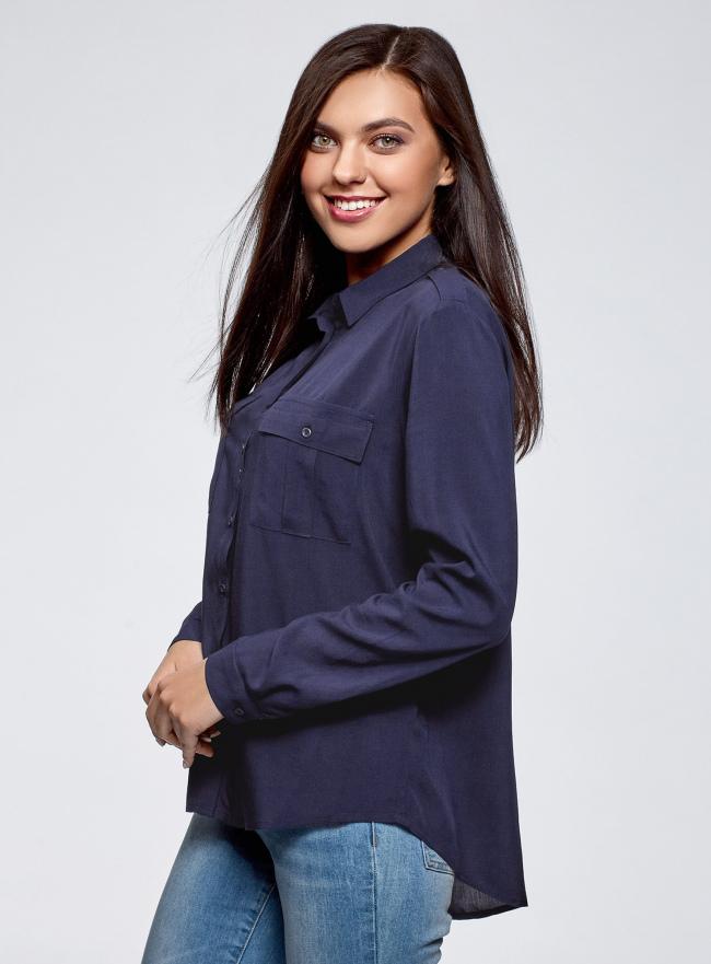 Блузка базовая из вискозы с нагрудными карманами oodji для женщины (синий), 11411127B/42540/7902N
