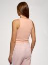 Топ укороченный в рубчик oodji для женщины (розовый), 15F15001/46412/4001N