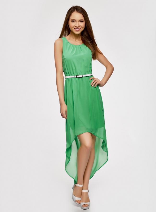 Платье без рукавов с асимметричным низом oodji #SECTION_NAME# (зеленый), 21901109-2/17288/6A00N