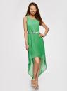 Платье без рукавов с асимметричным низом oodji #SECTION_NAME# (зеленый), 21901109-2/17288/6A00N - вид 2