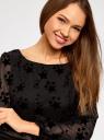 Платье шифоновое с принтом из флока oodji для женщины (черный), 11900150-7/13808/2929O