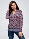 Блузка прямого силуэта с V-образным вырезом oodji #SECTION_NAME# (разноцветный), 21400394-3M/24681/2949E - вид 2