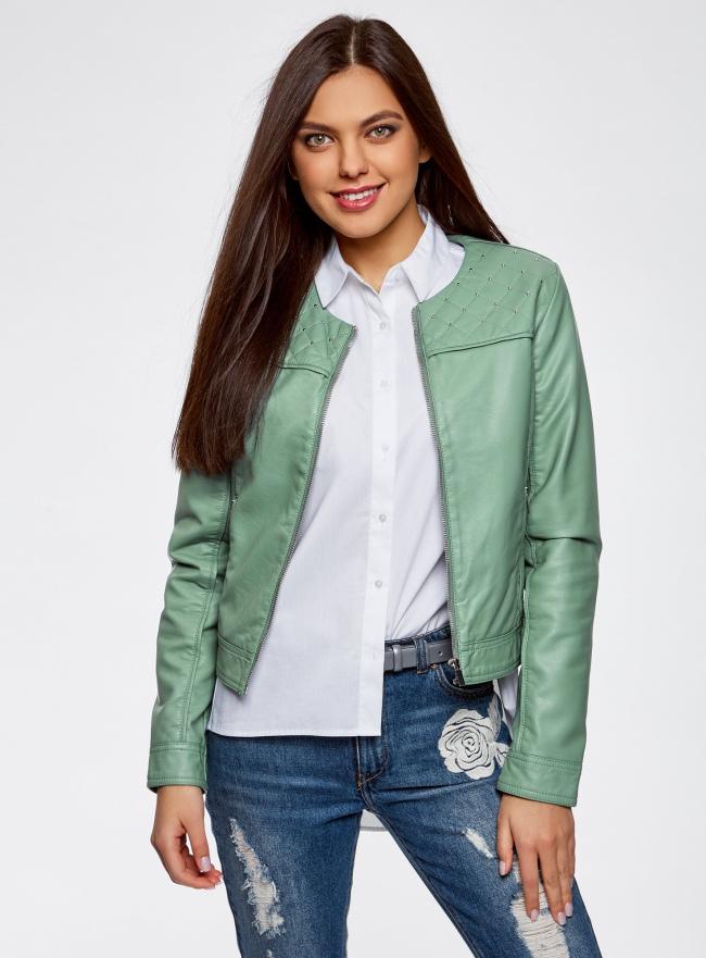 Куртка из искусственной кожи с металлическими стразами oodji #SECTION_NAME# (зеленый), 18A04010/46542/6C00N