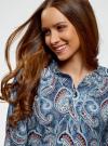 Блузка удлиненная с этническим орнаментом oodji для женщины (бирюзовый), 21405135/45192/7370E - вид 4
