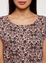 Платье принтованное из вискозы oodji #SECTION_NAME# (розовый), 11910073-2/45470/4B29F - вид 4