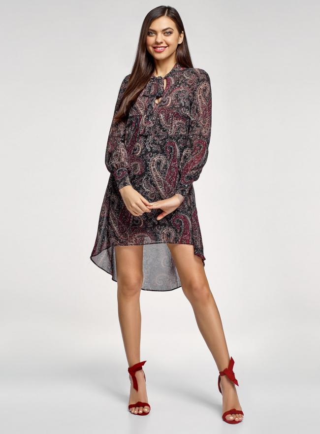 Платье шифоновое с асимметричным низом oodji для женщины (черный), 11913032/38375/2966E