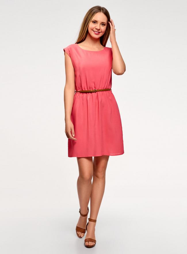 Платье вискозное без рукавов oodji #SECTION_NAME# (розовый), 11910073B/26346/4101N