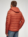 Куртка стеганая с капюшоном oodji #SECTION_NAME# (оранжевый), 1B112009M/25278N/5500N - вид 3