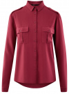 Блузка базовая из вискозы с нагрудными карманами oodji #SECTION_NAME# (красный), 11411127B/26346/4900N