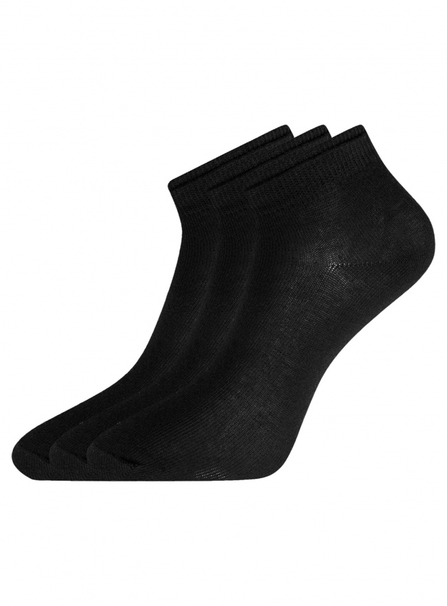 Комплект носков с двойной резинкой (3 пары) oodji для женщины (черный), 57102703T3/47469/19