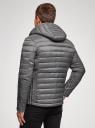 Куртка стеганая с капюшоном oodji #SECTION_NAME# (серый), 1B112009M/25278N/2300N - вид 3