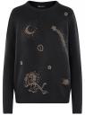 Джемпер вязаный с вышивкой бисером oodji #SECTION_NAME# (черный), 63807353/47104/2994P