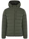 Куртка стеганая с капюшоном oodji для мужчины (зеленый), 1B112027M/33743/6600N