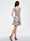 Платье трикотажное без рукавов oodji #SECTION_NAME# (белый), 14015005/45446/1019F - вид 3