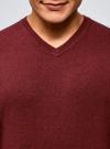 Пуловер базовый с V-образным вырезом oodji для мужчины (красный), 4B212007M-1/34390N/4C00M - вид 4