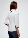 Блузка хлопковая с рукавом 3/4 oodji #SECTION_NAME# (белый), 13K03005B/26357/1000B - вид 3