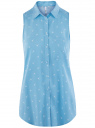 Топ вискозный с нагрудным карманом oodji #SECTION_NAME# (синий), 11411108B/26346/7510Q