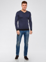 Пуловер с V-образным вырезом и контрастной отделкой oodji #SECTION_NAME# (синий), 4L212160M/44357N/7974J - вид 6