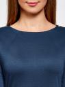 Платье с металлическим декором на плечах oodji #SECTION_NAME# (синий), 14001105-2/18610/7901N - вид 4
