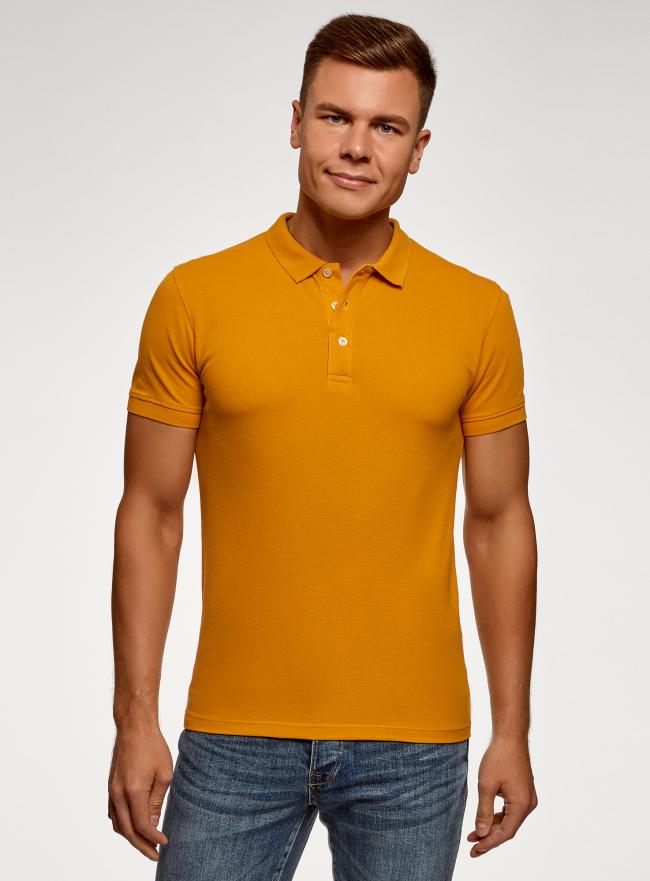 Поло из ткани пике oodji для мужчины (желтый), 5B422001M/44032N/5201N