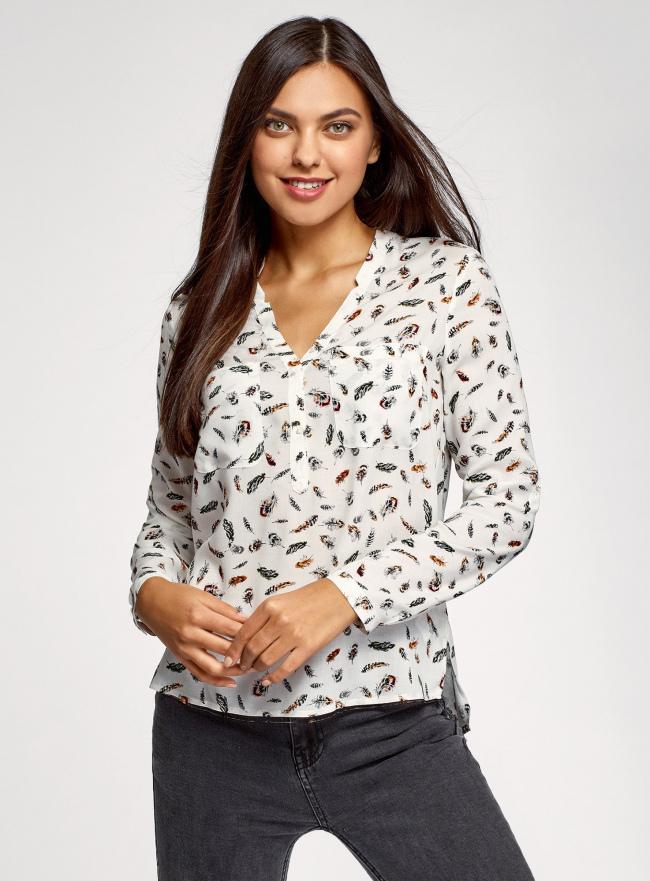 Блузка принтованная из вискозы oodji для женщины (белый), 11411049-1/42127/1019A