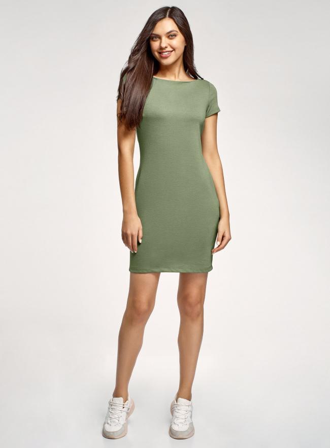 Платье трикотажное с вырезом-лодочкой oodji #SECTION_NAME# (зеленый), 14001117-2B/16564/6200N