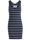 Платье трикотажное в полоску oodji для женщины (синий), 59801007/42806/7910S