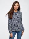 Блузка принтованная из шифона oodji для женщины (синий), 11400394-5/36215/7912E