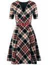 Платье в клетку с V-образным вырезом oodji #SECTION_NAME# (черный), 11902164/45879/2945C
