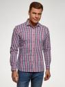 Рубашка в клетку с длинным рукавом oodji #SECTION_NAME# (разноцветный), 3B110028M/39767N/7945C - вид 2