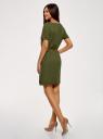 Платье вискозное с ремнем oodji #SECTION_NAME# (зеленый), 11901154-2/47741/6800N - вид 3
