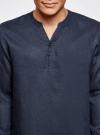 Рубашка льняная без воротника oodji #SECTION_NAME# (синий), 3B320002M/21155N/7900N - вид 4