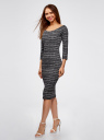 Платье облегающее с вырезом-лодочкой oodji для женщины (черный), 14017001-5B/46944/2912N