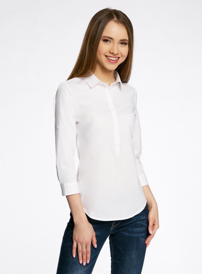 Рубашка базовая прилегающего силуэта с регулируемым рукавом oodji для женщины (белый), 11406016-1/42468/1000N