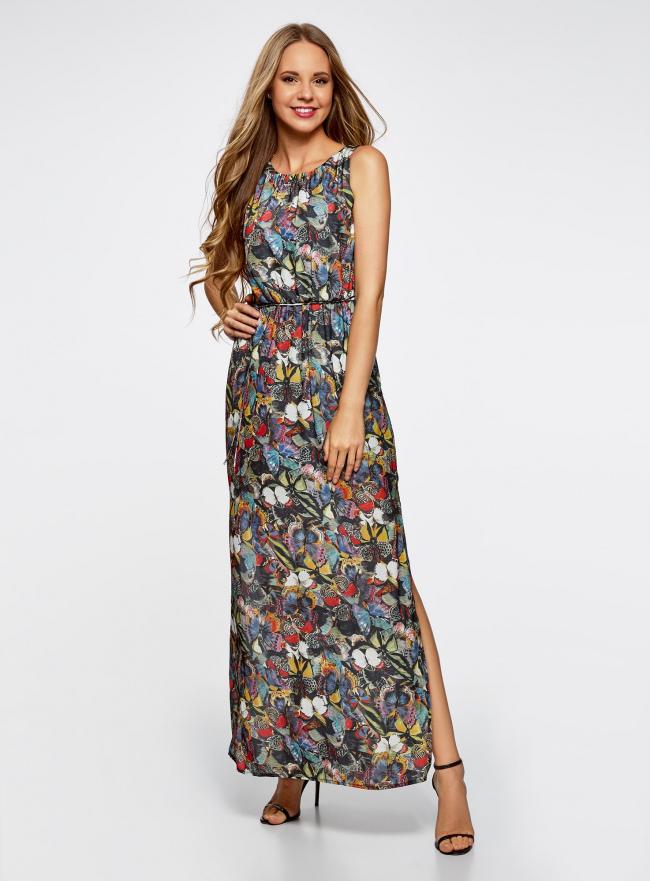 Платье макси с резинкой на талии и завязками oodji для женщины (черный), 21900323-1/42873/2919U