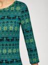 Платье трикотажное с вырезом-капелькой на спине oodji для женщины (зеленый), 24001070-5/15640/6C52E