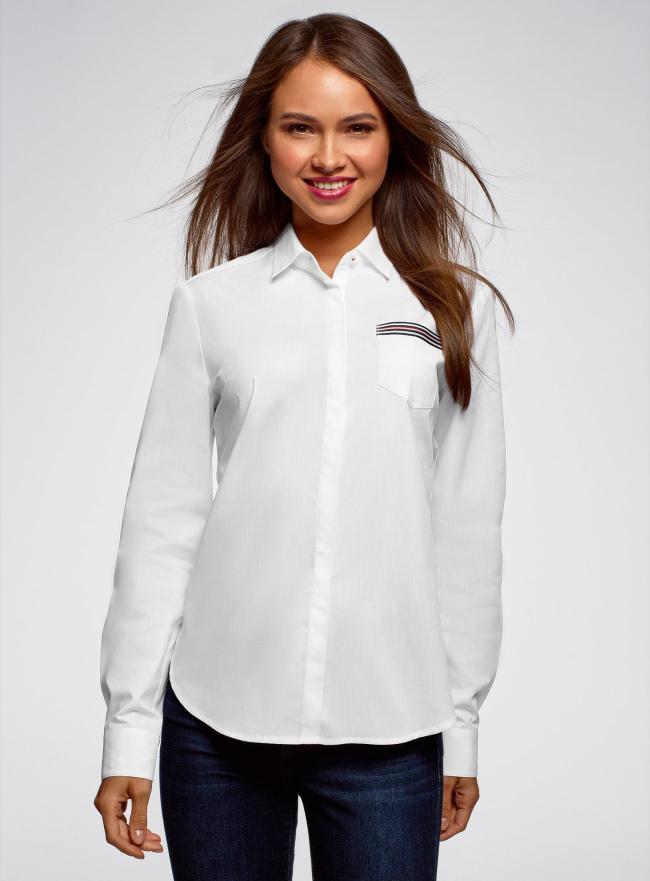 Рубашка хлопковая с декором на кармане oodji для женщины (белый), 13K03013/36217/1000B