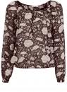 Блузка принтованная с завязками oodji #SECTION_NAME# (черный), 21418013-2/17358/2933F