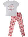 Пижама хлопковая с брюками oodji для женщины (серый), 56002200-7/47885N/2045Z