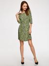 Платье вискозное с рукавом 3/4 oodji #SECTION_NAME# (зеленый), 11901153-1B/42540/6A4CF - вид 2