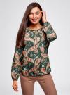 Блузка свободного кроя с вырезом-капелькой oodji #SECTION_NAME# (зеленый), 21400321-2/33116/6945F - вид 2