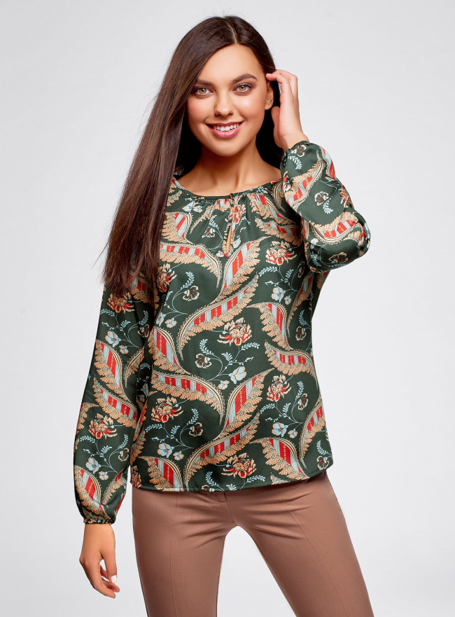 Блузка свободного кроя с вырезом-капелькой oodji для женщины (зеленый), 21400321-2/33116/6945F
